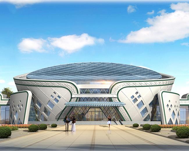 设计理念 建筑主体呈圆形,体量形式酷似蒙古包,具有较强的地域性.图片